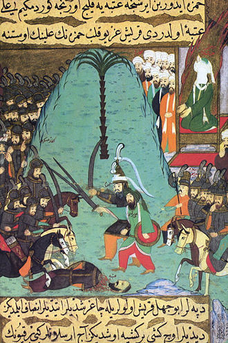Scene from Siyer-i Nebi, Hamza and Ali leading the Muslim armies at Badr. The writing is Ottoman Naskh. Date13 March 624 CE/17 Ramadan, 2 AH