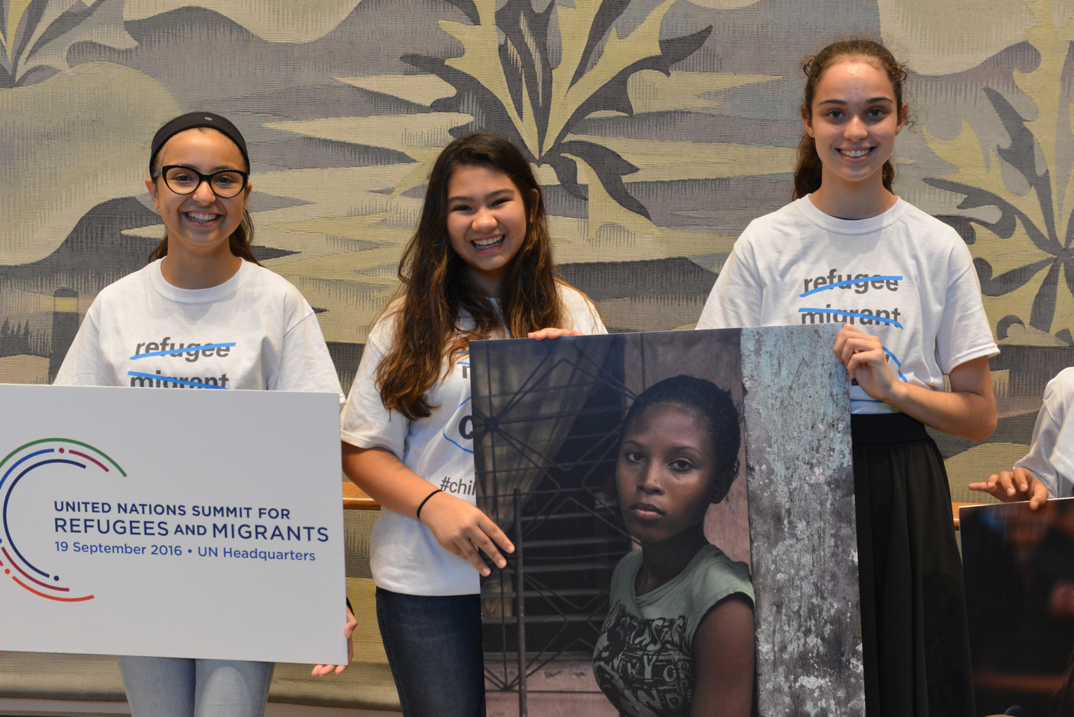 On 19 September 2016, children from the East side Middle School and P.S 119 Amersfort hold pictures of refugee and migrant children as they greet world leaders entering the General Assembly Hall to remind them to prioritize the rights of children during the high level plenary on refugees and migrant at the United Nations Headquarters in New York City.  On the morning of the United Nations? first ever summit on refugees and migrants, the U.S. Fund for UNICEF and others are reminding world leaders to put #ChildrenFirst as they address the largest humanitarian crisis of displacement since World War II.  An estimated 50 million children have been uprooted from their homes by conflict, violence, poverty, extreme weather and drought. Though many things divide nations and peoples, most can agree that children are innocent and deserve the opportunity to grow to their full potential. Though called by many names - refugees, migrants, stateless, internally displaced - they are children first.